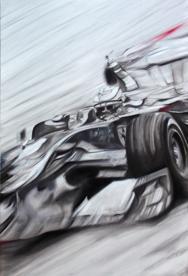 ferrari F1 oil on canvas